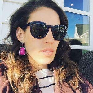 Danielle Stevens Pink Cameo Chandelier Earrings